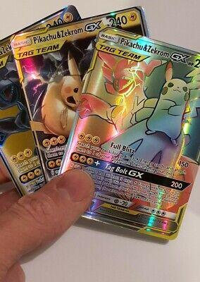 3 Cards - Pikachu & Zekrom GX - Rainbow Rare - Pokemon Cards - High Quality