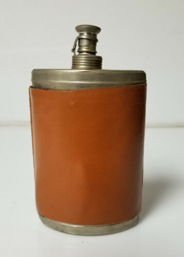 """Vintage Flask leather wrap and cork lined cap made in German """"us zone"""" post ww2"""