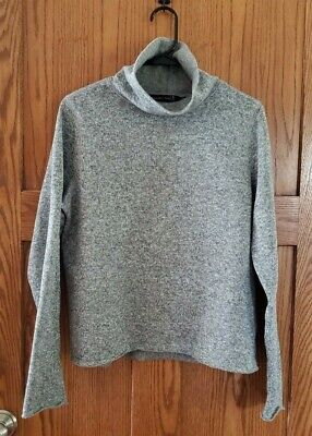 Abercrombie & Fitch Funnel Neck Fleece Sweater, Gray, size Medium