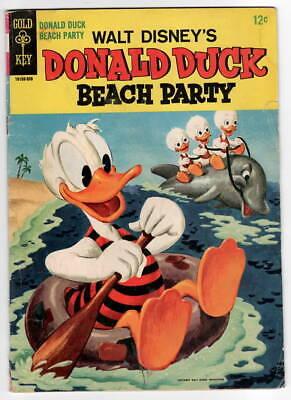 E498 Donald Duck Beach Party #1 Dell Walt Disney Barks Silver Age Comic Book ](Duck Beach)