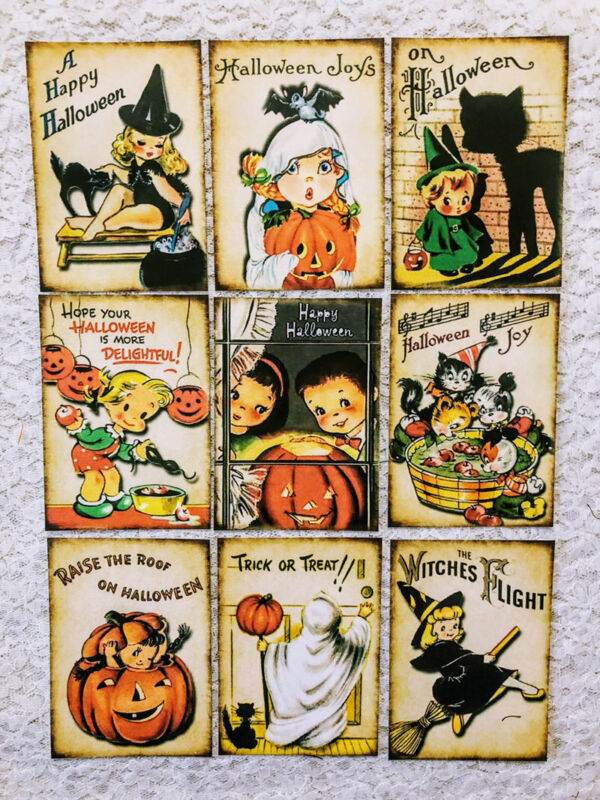 (9) Vintage Halloween Witches~Pocket Pen Pal Letter Cards~Inserts only~223N