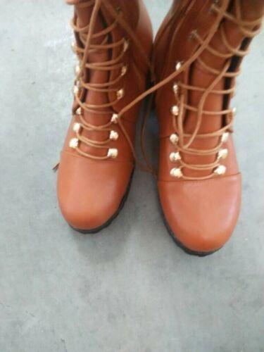 Retro Women Over-the-Knee Boots Lace Up Block Heel Wide Calf Shoe Big SZ 35-47 L