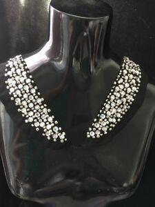 Black Rhinestone Silver beaded tulle applique Neckline 1 pair Sew on A4
