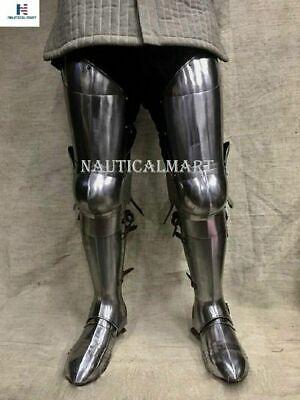 Knight Leg Armor (Medieval Steel Full Leg Armor Knight Halloween Costume with)