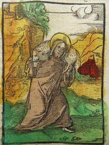 HANS SCHÄUFELEIN OLD MASTER INCUNABLE WOODCUT PLENARIUM 1516 GOOD SHEPHERD SHEEP