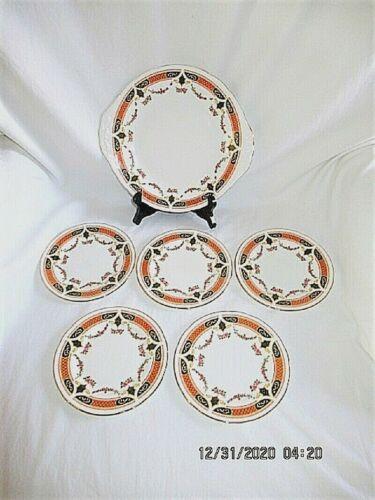 VTG COLCLOUGH CHINA ORANGE BLACK W ROSE SWAG IMARI? CAKE + 5 DESSERT PLATES FO82