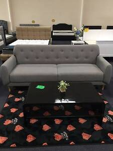 SP143 Light Grey Sofa Bed Couch Loung with Buttons Clayton South Kingston Area Preview