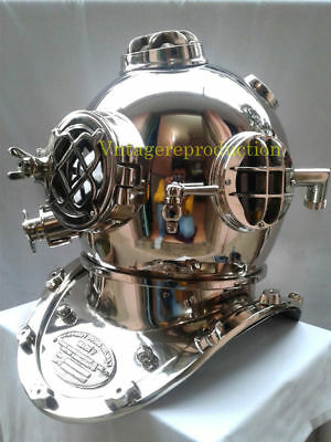 "Nickel Finish 18"" Diving Helmet U.S Navy Mark IV Deep Sea Divers Helmet Replica"