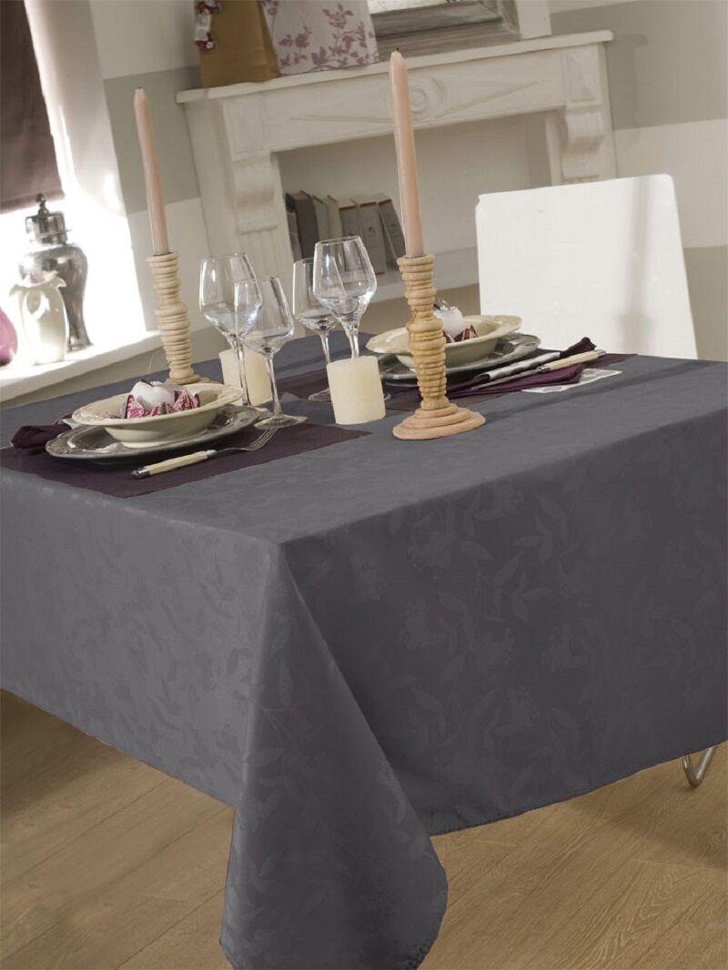 nappe en tissu 150x300 cm ombra damass gris fonce achat vente nappe de table soldes d. Black Bedroom Furniture Sets. Home Design Ideas