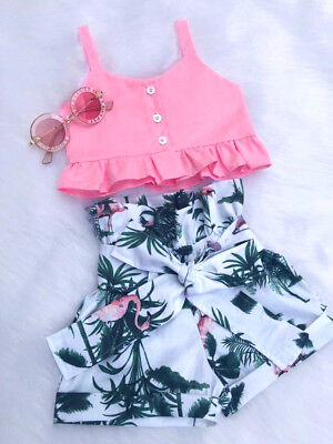 USA Flamingo Toddler Baby Girl Vest Crop Tops Short Pants Outfits Clothes Summer - Flamingo Girl