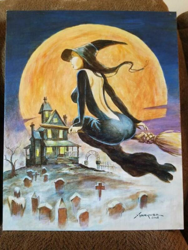 2 DON MARQUEZ original art, WITCH WITCHES, 16x20 on board, Broom, 2012, 2 pieces