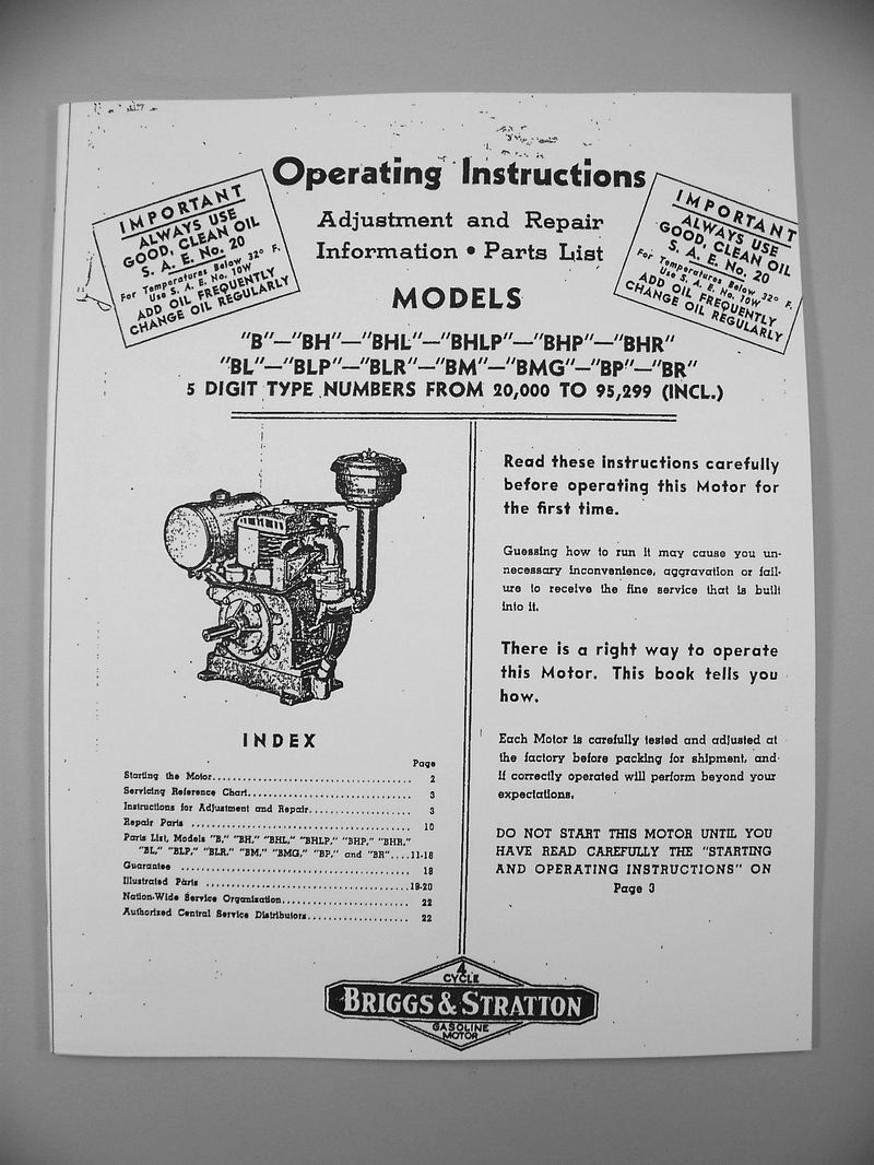 Briggs Stratton Bhlp Bhp Service Repair Owner Operator Operating And Engine Diagram Parts List For 8 Of 10 Manual