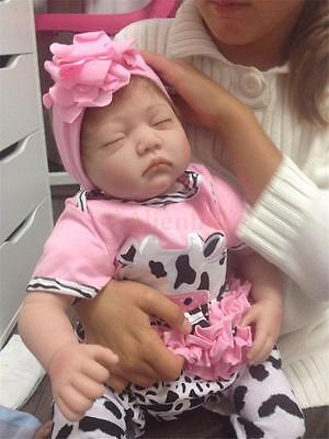 "22"" Handmade Real Looking Newborn Baby Vinyl Silicone Realistic Reborn Doll Girl"