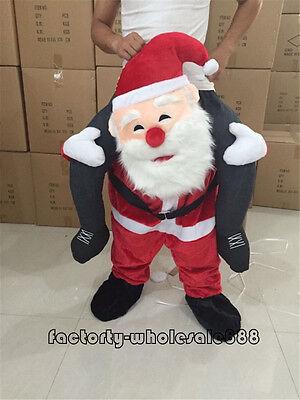 Santa Claus Mascot Mens Xmas Fancy Dress Costume Cosplay Ride On Parade  - Santa Mascot Costume