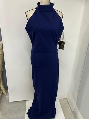 Chiara Boni la Petite Robe Women 54 Navy Blue Ruffled Mermaid Trumpet Gown Dress