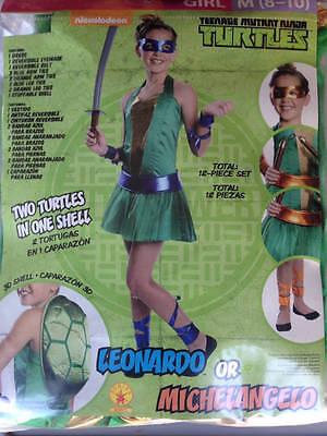 Michaelangelo Ninja Turtle Kostüme (TEENAGE MUTANT NINJA TURTLES Girl 8-10 Halloween Costume Leonardo Michaelangelo)