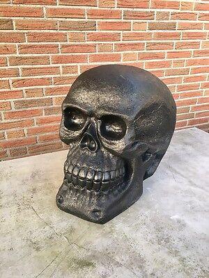 XXL Totenkopf Totenschädel schwarz Skull Dekoration Schädel Deko Figur Höhe 40cm