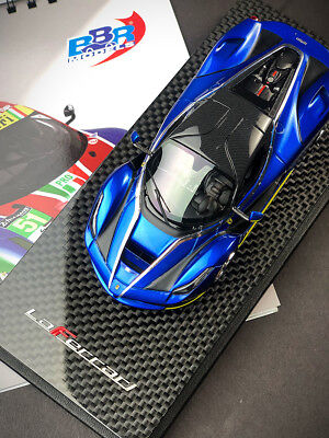 New 1/43 BBR Ferrari Laferrari Coupe car Model Met. Blue Carbone Roof Chrome rim