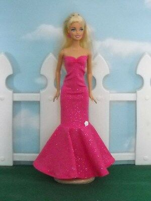Barbie Doll Dress Handmade Glittery Pink Sweetheart Sheath