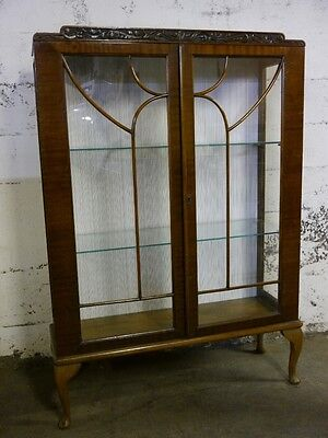 ANTIQUE EUROPEAN 2 DOOR MAHOGANY CHINA CURIO CABINET BOOKCASE on Rummage
