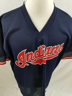 Cleveland Indians Mens XL 2XL Majestic Mesh Pullover V Neck MLB Jersey VTG - Majestic Mesh Pullover