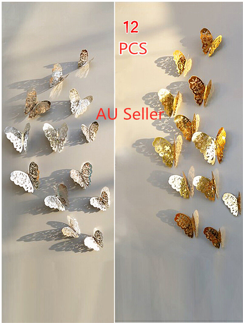 Home Decoration - 12Pcs 3D DIY Wall Decal Stickers Butterfly Home Room Art Decor Decorations AU