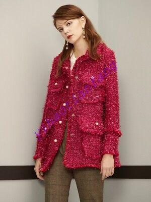 Elegant Ladies Women's Woolen Coat Tweed Beads Slim Fit Jackets Single Breasted