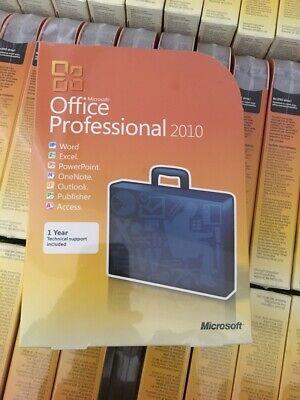 Microsoft Office Professional 2010, Full, Windows, 32/64-bit W/CD&Key NEW SEALED