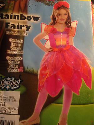 Girls Large 10/12 Rainbow Fairy Costume Wings Headband Dress Pink - Rainbow Fairy Costume