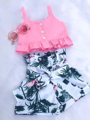 USA Toddler Kids Baby Girl Flamingo Vest Crop Tops Short Pants Outfits Clothes - Flamingo Girl