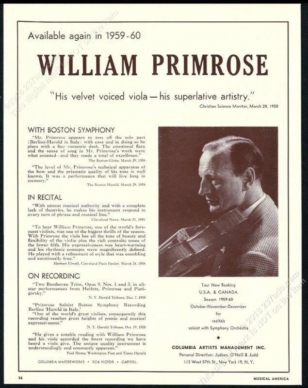 1959 William Primrose photo USA viola recital tour booking trade print ad