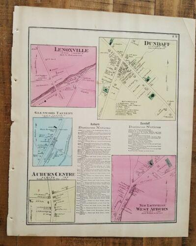 ANTIQUE Colored Map DUNDAFF & LENOXVILLE, PENNSYLVANIA / A. Pomeroy & Co. 1872