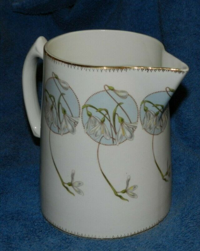 VTG. EDWIN M KNOWLES CHINA CO PITCHER~flowers on blue background excellent cond.