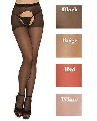Plus Size Sheer Crotchless Pantyhose Hose Hosiery Women Open Back (Crotchless Sheer)