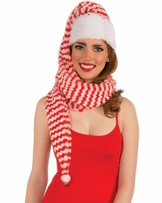 COZY WRAP RED & WHITE STRIPE SANTA ELF HAT HOLIDAY ACCESSORY SOFT FLUFFY - Long Elf Hat