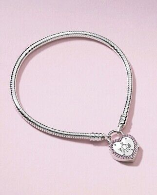 Authentic PANDORA Pink Lock Promise Heart Padlock Bracelet #596586FPC with Box