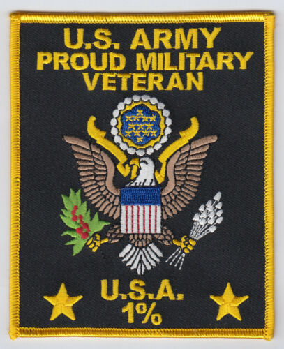 """US Army Proud Military  Veteran 1%  4.25"""" x 4.75"""" patch"""
