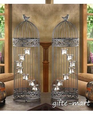 5 Large black tall Bird Cage candelabra Candle Holder wedding table centerpieces