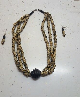Wood Jewelry Necklace Set African Clothing/Wearable Art /Kwanzaa