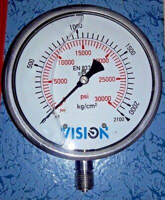 High Pressure Gauge Dual Scale 0-2000 Bar 0-30000 Psi