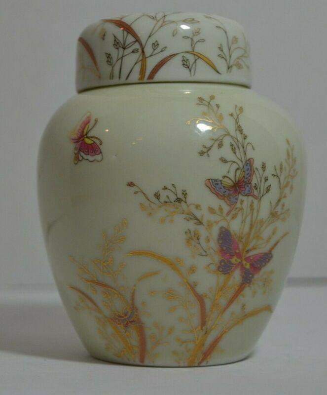 SHIBATA Japan GINGER JAR, Pretty Pink and Gold Flowers & Butterflies