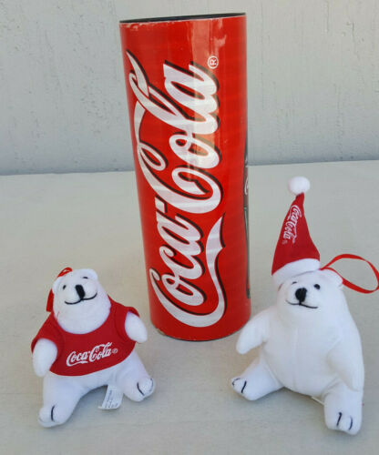 Coca Cola Polar Christmas Bears with Tube - Genuine - Rare for Collectors (1999)