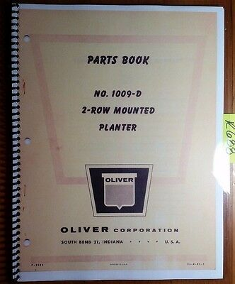 Oliver 1009-d 2 Row Mounted Planter Parts Book Catalog Manual C-2986 S2-9-r5-1
