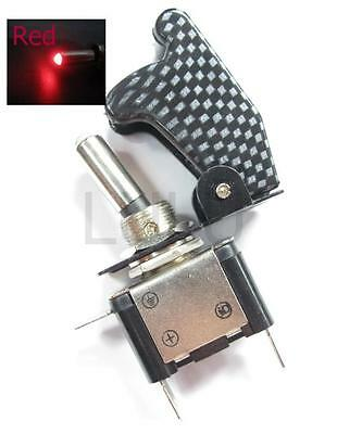 Aircraft Toggle Switch W Carbon Cover Red Led 12v Cr1