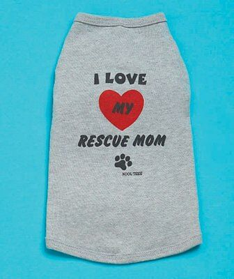 NEW Size Small (XS) Grey I Love My Rescue Mom T-Shirt Dog Clothing ==50% STFBR