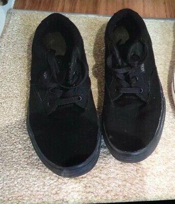 Vans canvas trainers / pumps shoes junior Boys/Girls Sz uK 4. Black. Exc cond