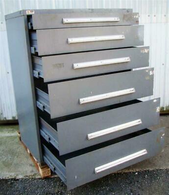 Stanley Vidmar 6 Drawer Tool Storage Cabinet Grey 45x27-12x57 W Lock Latches