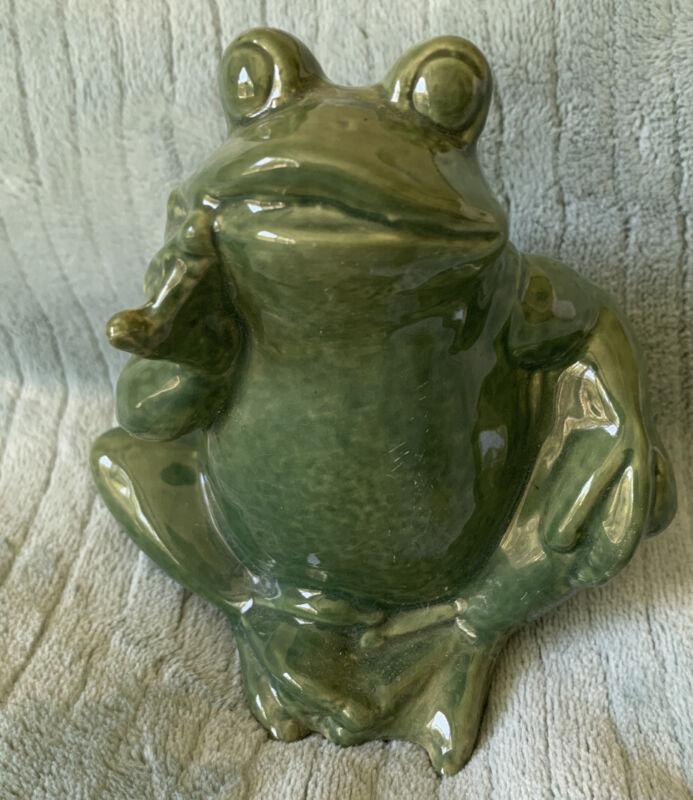 Vintage Ceramic Art Pottery ThinKing Frog Figurine Garden Anthropomorphic