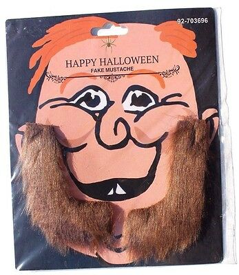 Brown Fake Beard Sideburn Mustache Facial Hair Halloween Costume Accessory New