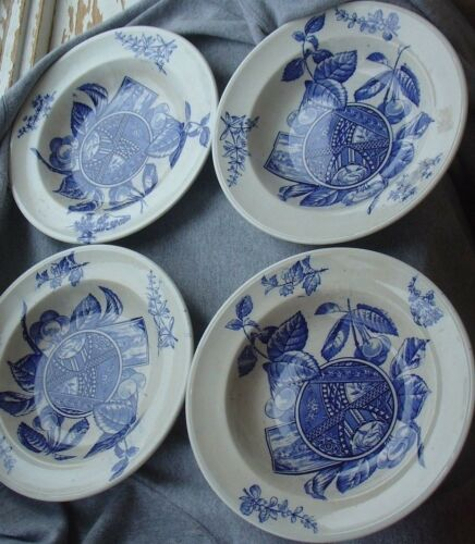 Antique Fruit BAP English Pottery Victorian Aesthetic Blue Transferware Bowl Lot
